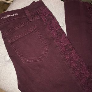 CARMAR Jeans with Floral Lace Details